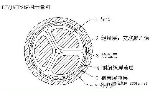 BPYJVPP2变频器电缆结构示意图